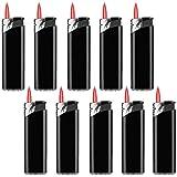 Sepilo Turbofeuerzeug Sturmfeuerzeug Calidas Rote Turbo Flamme Gas Feuerzeug wiederbefüllbar Windproof (Schwarz -10 Feuerzeuge)
