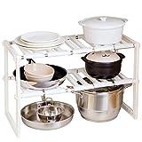 Bodenregale, Edelstahl Kunststoff Aufbewahrungsregale für Haushalt Küchen, einziehbare Lagerregale unter der Spüle