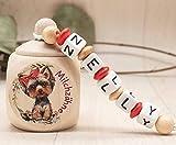 Milchzahndose mit Namen Mädchen Yorkshire Terrier Hund rot Holz Zahnbox Milchzähne Geschenk Einschulung Schultüte Geburtstag