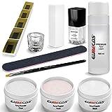 EuBeCos Acryl Nagel Starterset PLUS Liquid 100ml Acrylpuder weiß klar rosa 90g + Anleitung 11 teiliges STARTERSET MADE IN GERMANY