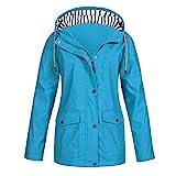 Leeafly Damen Outdoorjacken Sonnenschutz Wasserdichter Regenjacke Regenmantel Übergangjacke Lange Jacke Mode Jacke, FrüHjahr Herbst Outdoor-Sportbekleidung(X-Himmelblau,XL)