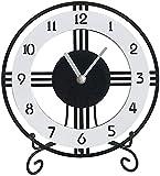 qwert Kaminuhr Arabischen Ziffer Zifferblatt Runde Kamin Uhren Acryl Einfache Tischuhr Mute Desktop-Batteriebetriebene, Dekor-Geschenk,Large