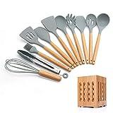 YTG Silikon-Kochutensilien 11/12 / 13pcs Küchenutensilien-Set-Non-Stick-Spatel-Holzgriff mit Aufbewahrungskasten-Küchenwerkzeuge grau (Color : Light Yellow)