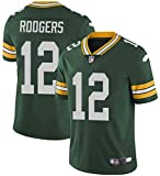 Xyy T-Shirt NFL Football Jersey Green Bay Packers Aaron Rodgers # 12, American Football Sportkleidung, Casual T-Shirt Kleidung, Stickerei Fans Version Fan-T-Shirts (Color : Green, Size : M)