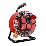 KEL-ELECTRIC Kabeltrommel fuer Gaerten mit 30 m PVC - Kabel 3x1,5 mm2, 230 V/16A -Verlängerungskabel -Kunststoffrommel mit 4 Schutzkontakt Steckdosen-IP44