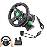 Lazmin Gaming Racing Lenkrad, Gaming Vibration Racing Lenkradpedale für Xbox 360/PS2/PS3/PC USB