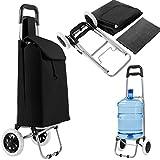 COSTWAY 35L Einkaufstrolley klappbar, Einkaufswagen mit Abnehmbarer Einkaufstasche, Einkaufsroller bis zu 35kg belastbar, Shopping Trolley rollbar, schwarz