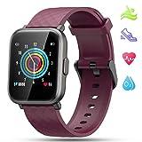LIDOFIGO Smartwatch,Damen Fitnessuhr Touchscreen Fitness Armband Pulsuhr IP68 Wasserdicht Sportuhr Fitness Tracker mit Stoppuhr Schlafmonitor Kompass Schrittzähler Uhr Damen Smartwatch Android lila