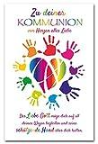 10 Glückwunschkarten Kommunion Herz Hände Spruch Grußkarten Hüllen 120-1448
