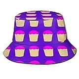 MayBlosom Fischerhütchen mit Hut-Cupcake-Muster, modisch, faltbar, tragbar, Unisex, für den Außenbereich, UV-Schutz