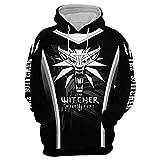 JINGHE The Witcher Geralt Hoodie Sweatshirt Unisex Damen Herren, 3D-Gedrucktes Cosplay-Kostüm Übergroßer Pullover Langarm mit Taschen S-5Xl