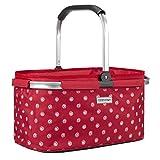 anndora Einkaufskorb 22 Liter Picknickkorb - rot weiß gepunktet