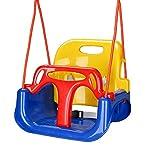 wolketon Kinderschaukel Babyschaukel Garten Swing, Spielzeug Schaukel für Kinder 3 in 1, mit Rückenlehne und Anschnallgurt, für Indoor Outdoor, bunt