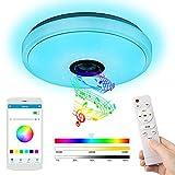 LED Deckenleuchte mit Bluetooth Lautsprecher, 36W 3000-6500K Deckenlampe Farbwechsel, Deckenleuchte Dimmbar mit Fernbedienung/APP-Steuerung, für Schlafzimmer Kinderzimmer Wohnzimmer, Rund 33cm
