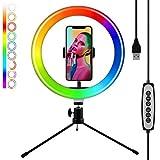 harupink LED-Leuchtring, Leuchtring, Stativ, tragbar, Ständer für Selfie, Videoaufnahme, 32 Farben einstellbar, Make-up-Licht