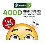 WhatsApp SIM Prepaid [SIM, Micro-SIM, Nano-SIM] - Starterpaket mit 15 EUR Guthabenwert, ohne Vertragsbindung, Option mit 4000 Einheiten (MB/MIN/SMS), Surf-Geschwindigkeit: 25 MBit/s LTE