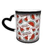 Becher Kaffeetassen Süße Sommerreife Wassermelonen,Keramische Hitzeempfindliche Farbwechseltassen Teebecher Sternenhimmel Neuheit Keramiktassen