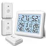 Brifit Thermometer Hygrometer, Thermometer Innen/Ausen mit 3 Sensoren, Digitales Thermometer Innen und Außen mit Hintergrundbeleuchtung, ℃/℉ Schalter, MIN/MAX Anzeige, Ideal für Büro, Zimmer - Weiß