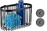 WENKO Wandablage groß Classic Plus Black mit Vacuum-Loc® Adapter, Befestigen ohne Bohren
