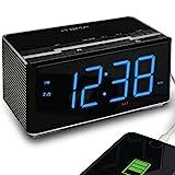 iTOMA Radiowecker mit FM-Digitalradio, Projektionsuhr, Dual-Alarm, automatische Zeiteinstellung, USB-Ladeanschluss, AUX-Eingang (CKS512)
