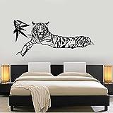 Bambusblätter liegend Tiger Vinyl Wandtattoo Wohnkultur Wohnzimmer Schlafzimmer Kunst Wandbild abnehmbare Wandaufkleber 43x93cm