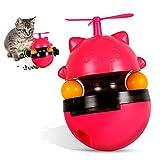 Hosdog Katzen Spielzeug Futter Spender, Interaktives Hunde Puzzle Ball Becher Haustier Langsamer Futternapf mit Zwei Rollenden Bällen und Lustiger Windmühle – Rot