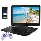 FCDWHJ 25'Tragbarer DVD-Player mit 15,6' HD ultradünnes High-Definition-Display / 270 ° großer Schwenkbildschirm Tragbarer DVD-Player für Kinder Support USB SD-Karten-Sync-TV Mehrscheiben-Formate