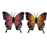 LjzlSxMF Garten-Wand-Kunst-Außenzaun hängend Metall-Skulptur-Fertigkeit-Dekoration 3D Kleines Fliegen Insekt Bunt 2ST