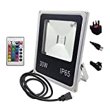 +d Flutlicht Halogenstrahler 30W RGB Remote 24key Controller Wasserdichter IP65 Flutlicht-Gartenscheinwerfer