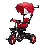 Travel System Baby Kids Rutsch-Dreirad für Kinder mit sicherem Sonnendach, Rückenaufbewahrung und verstellbarem Teleskopgriff für Eltern (Farbe: Rot) FDWFN (Farbe: Rot)