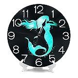 BAIYIN Home Decor Me-rmaid Silhouette Aquarell Runde Wanduhr Stille, Nicht tickende Uhrkunst für Küche Schlafzimmer