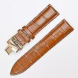 Uhrenarmband Leder Uhrenarmband Band Schmetterling Schlangarmband 12mm 14mm 16mm 18mm 19mm 20mm 21mm 22mm 23mm 24mm Armband Leder Uhrenarmband ( Band Color : Light brown rose g , Band Width : 19mm )