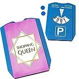 Shopping-Queen Parkscheibe mit Goldrahmen mit 2 Einkaufswagenchips in rosa mit lustigem Spruch Frauen-Auto Frau am Steuer Geschenk Einkaufen Frauengeschenk Parkplatz Parkuhr Lady Madame Geschenk
