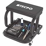 TECPO Werkstatt Rollsitz 125 kg Werkstatthocker Arbeitshocker mit Ablage für Werkzeuge