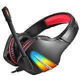 tellaLuna J6 Gaming Headset mit Mikrofon- und GerrUsch UnterdrüCkung KopfhhRer Gaming mit LED Licht für Telefon, Laptop, PS4, PS5, PC, Rot