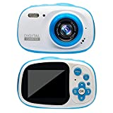 QCHEA wasserdichte Kinder Kamera Geschenk for 8-12 Jährige Teen, Mini Digitalkameras for Kinder Mädchen Jungen, mit 16 GB SD (Color : Blue)