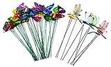 JZK 50 x Plastik Bunte Garten Schmetterlinge Stangen und Libellen Stangen Patio Ornamente für Wanddekoration, Pflanzendekoration, Kinderzimmer, Deko Party, Garten Dek