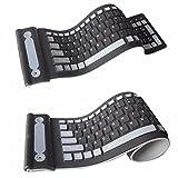 FSDELIV Faltbare drahtlose Tastatur, klappbare 107-Tasten-Softtastatur aus Silikon, ultradünnes Design, leise tragbare drahtlose Tastatur, 107 Tasten, wasserdichte 2,4-G-Funktastatur für Laptop-PC