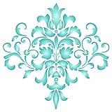 Damast-Schablone, 25,4 x 25,4 cm (M) – großes florales Muster, Wand-Schablonen für Malvorlag