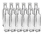 12 leere Glasflaschen Flaschen Maraska 250ml & ETIKETTEN zum Beschriften incl. Schraubverschluss Silber, Eckig, zum selbst Abfüllen Likörflasche Schnap
