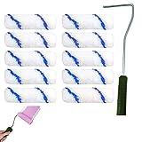 Farbroller Griff Set Lackierwalze Farbroller Pinsel Renovierungsset Wandmalerei Werkzeug Schaumstoff-Farbroller, Wanddruck, Pinselroller-Set mit 10 Pinsel-Teilen für Zuhause, Büro, Zimmer, Wand, Decke