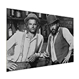 Terence Hill Bud Spencer Holzdruck - Der müde Joe und Der Kleine - Vier Fäuste für EIN Halleluja (30 x 20 cm)