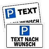 Parkplatzschild mit Wunschtext Parkplatz Parkschilder 3 Formate Text nach Wunsch (30 x 20 cm (BxH))