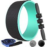 Odoland Yoga Wheel, Yoga Set 5 in 1, Yoga Rad, Yogagurt mit 10 Schleifen, Massagerolle, Massagebälle, Yoga Starter Set für Backbend Stretching Pilates Meditation