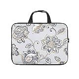 Laptoptasche mit Blumenpflanzen, Laptoptasche, personalisierbar, wasserabweisend, mit tragbarem Griff, für Damen und Herren, weiß, 43,2 cm (17 Zoll)