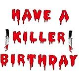 EElabper Halloween dekorative Banner blutige Brief Furchtsame Party hängen Girlanden-Bagging-Flagge haben einen Killer-Geburtstag