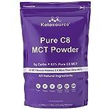 Premium C8 MCT Öl Pulver | 3X Mehr Keton-produzierende C8 als MCT-Öle | Reines Caprylsäure Triglyceride mit 99,8% | Paleo & Vegan | Ketogen und Low Carb | Gluten- und Milchfrei | Ketosource®