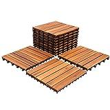 SWANEW Holzfliesen 33-er Kachel Set,3m², geeignet als Terrassenfliesen und Balkonfliesen, aus Akazien Holz, 30x30 cm, für Garten Terrasse Balkon
