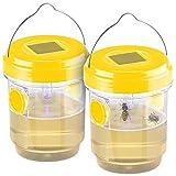 Exbuster Wespenfalle: 2er-Set giftfreie Solar-LED-Insektenfalle z. Aufhängen oder Hinstellen (Bienenfalle)