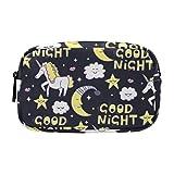 Große Schminktasche Reißverschlusstasche Reise Kosmetik Organizer für Mädchen und Frauen, Einhorn Sterne Wolken Lippen Mond Baby
